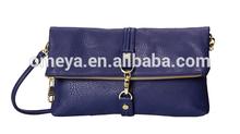 Top zip closure PVC purse fold-over lady casual clutch bag