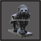 High polished black granite lion statues