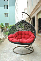 Russia Christine Garden Black PE wicker Rattan Hanging swing chair Outdoor Contract Furniture