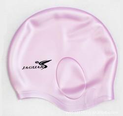 Logo Printed Rubber Swim Cap Customized Ear Protection Swim Cap