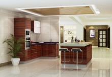 Modern style Azerbaijan kitchen cabinet piano paint with light kitchen MDF pannel furniture