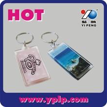 2015 custom promotional acrylic key chains/key rings plastic rectangle