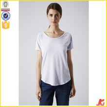 2015 latest women blank pocket white t shirt wholesale