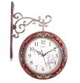 Madera maciza reloj de pared del arte de doble cara del reloj de la artesanía