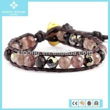 European Stone Strawberry Quartz Mix Single Wrap Bead Bracelets on Natural Dark Brown Leather