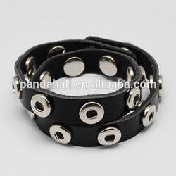 Gothic Punk Genuine Leather Wrap Snap Button Bracelet Fit 4-5mm Knob Snap(AJEW-R024-14)