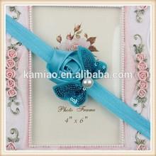 wholesale blue cloth rose handmade flowers hair bows bulk pearl headband baby girls hair accessories