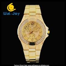 with diamonds luxury gold case businessmen trendy creative alloy watch(WJ-3645)