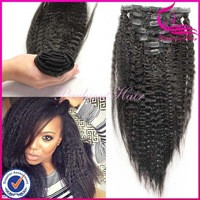 New arrival high quality yaki straight for black women wholesale cheap 100% human hair clip in hair extension