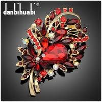ruby rhinestone flower brooch fashion jewelery new design corsage Ae069-A