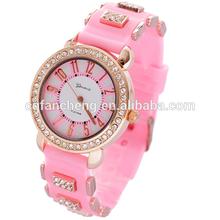 Cheapest hot wholesale diamond Silicon quartz wrist watch for promotionfor women