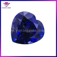 Blue topaz 34# 6*6mm hearts shaped gems rough synthetic diamonds blue corundum