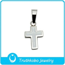 F-P0180 High Quality Plating Silver StainlAess Steel Satin Matte Finished Cross Pendant