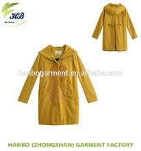 OEM korean style pretty blue long dress Women's wind coat latest design bamboo cotton slim fit long wind coat
