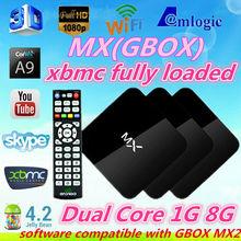 XBMC Full Pre-loaded ! Original MX Android TV Box 1GB/8GB Amlogic 8726 dual core Build in WiFi,Remote Control mini pc