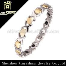Bio energy magnetic stainless steel murano bracelet