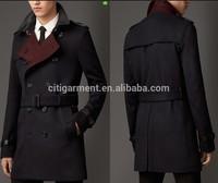Men's Lambskin Detail Virgin Wool Cashmere Trench Coat