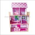2015 novo de madeira da boneca barbie casa e venda quente em madeira casa de boneca de brinquedo com a boneca casa funiture
