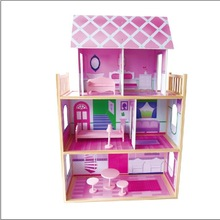 2015 New wooden barbie doll house and Hot selling Wooden doll house toy with doll house funiture