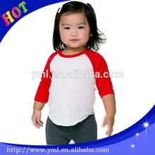 custom high quality 100%cotton kids clothing baby Raglan long sleeves plain t shirt