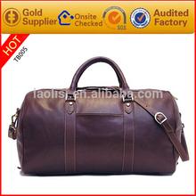 LAOLISI new retro vintage leather travel bag wholesale leather duffle bag