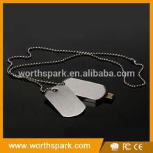 OEM 2GB 4GB 8GB 16GB metal dog tag usb pen drive with chain