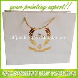 (BLF-PB851) Whole white paper gold printed logo fashion slogan bag shopping