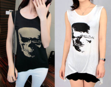 Latest fashion skull ladies tops summer woman hollow out blouse sexy fashion shirt