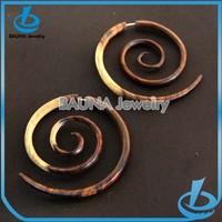 Fashion multi color cute earring double size wooden spiral earrings