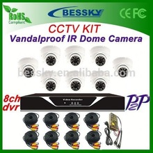 Bessky 8pcs Indoor Vandalproof IR Dome Camera + H.264 8ch DVR CCTV Security System sony home theater system