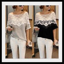 wholesale fashion korea style lace design women summer blank t-shirt