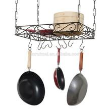 Concept Housewares Black Metal Wire Pot Hook Rack