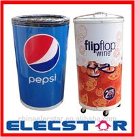 Plastic ice bin, nonelectric barrel cooler, beverage promotional ice cooler