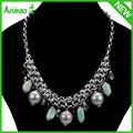 сырой кристалл янтарное ожерелье ювелирные изделия ожерелье мода новый дизайн жемчужное ожерелье