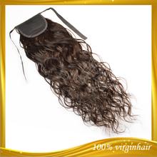 Natural wave clip remy cheap human hair drawstring ponytail