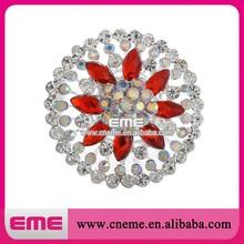 Fabulous zinc alloy custom rhinestone cheap crystal metal flower brooch