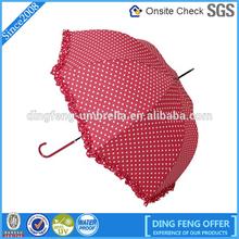 Beautiful white dot & pink color custom print logo straight child umbrella
