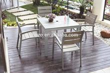 Outdoor aluminum square table set/ Garden polywood dining set/ Patio plastic wood furniture