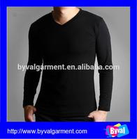 Wholesale Your Brand Clothes Mens Basics Black Round Neck Long Sleeve T Shirt Underwear