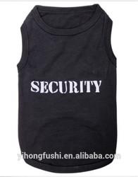 Pet Puppy Tee Shirt Black Security Dog Clothes Dog T-shir Sleeveless Shirts