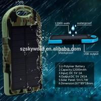 High Capacity Wholesale Sun Power Solar Cellphone Battery Charger 12000mAh