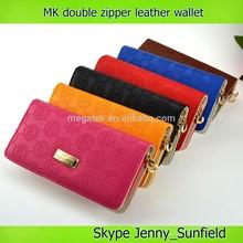 fashion double zipper MK leather wallet brand woman wallet