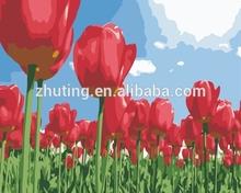 Hot sell wholesale handmade Tulip flower DIY oil painting