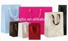 matte lamination ribbon handle large clothing paper bag for shopping
