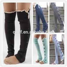 2015 fashion adult women lace trim knee high boot cuff socks knitted leg warmer
