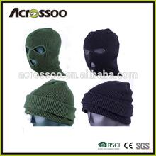 Men's acrylic ski beanie hat/ 3 holes winter balaclava/ knitted hood with neck warmer