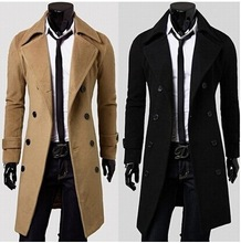 Stylish Mens Double Breasted Slim Fit Wool Long Jacket Tops Trench Coat Outwear