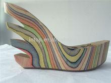 Waterproof platform Wood shoe sole High heel shoe Sandal sole
