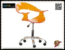 Wheeled acrylic swivel chair with backrest and backrest