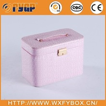 customized pink PU leather jewellery box design with 2 trays